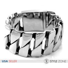 Fashion Men's Stainless Steel Heavy Duty Wide Link Chain Bracelet Cool Punk B32