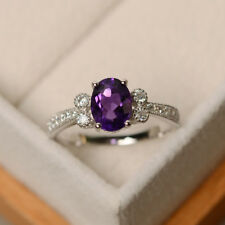 Oval Cut Amethyst 1.65CT Gemstone Rings Solid 14K White Gold Ring Size H J M