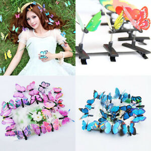 Butterfly Hair Clips 10 Mixed Imitation 3D Festival Summer Party Wedding Gift