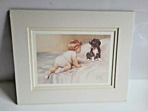 VINTAGE BABY PRINT - TRIPLE MAT READY FOR FRAMING - BETSY PEASE GUTMANN
