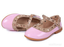 Cute Baby Girls Toddler Kids Sandals Rivet Buckle T-strap Flat Shoes Princess