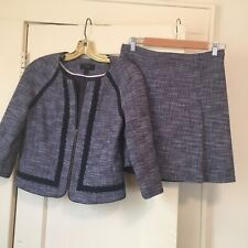 J. Crew Sz 4 Blue White Tweed Embroidered 2 Piece Skirt Suit Fully Lined EUC