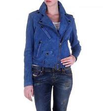 $950 Authentic Rare DIESEL Women's Blue L-Lupus-H Lambskin Suede Leather jacket