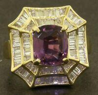 GIA heavy 18K gold 6.08CTW VS diamond/No Heat Pink-Purple sapphire cocktail ring
