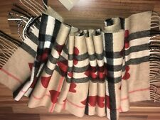 Burberry Cashmere Check Scarf W/Hearts(BNWT)