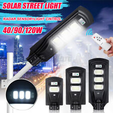 120W 7500K LED Solar Street Light Radar Sensor Outdoor Garden Wall Lamp+Remote
