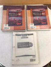 3 Lot Writing & Grammar 10 for Christian Schools Teacher's Edition Tests