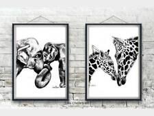 Nursery Art, Mother and Baby Elephant and Giraffe Prints, Animal Nursery Decor