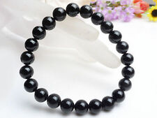 6mm Genuine Natural Black Tourmaline Round Beads Stretch Bracelet AAA