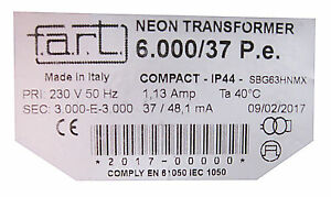 F.A.R.T. Neontrafo Hochspannungstransformator 1000 - 10000 Volt / 37mA NEUWARE