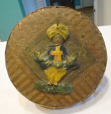 Antique Wicker Sewing Basket, Unique Paper Mache Bedouin Genie Embellishment