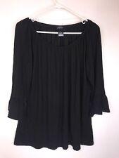 INC Size XL 16 Black Optional Off Shoulder Dressy Ruffle Sleeve Top Shirt Blouse