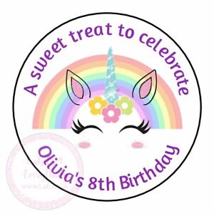 Personalised Unicorn Rainbow Birthday Stickers Party Thank You Sweet Cone Bags