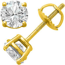 0.25CT TCW Mens Diamond G-H SI3-I1 14K Yellow Gold Solitaire Single Stud Earring