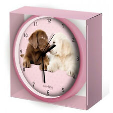 Wall Clock Hugs & Kisses Pink Little Puppies New In Box Studio Pets By Myrna