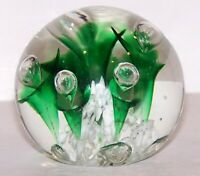 LOVELY SIGNED PEACOCK GLASS WORKS ART GLASS WHITE WITH GREEN FLOWERS PAPERWEIGHT