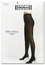 NEW NEU WOLFORD silver dus tight black Small 38/40 Uk10/12 US8/10 Strumpfhose