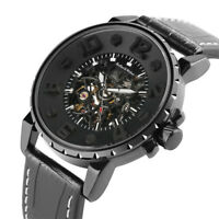 Keller&Weber Leather Band Men Military Army Auto Mechanical Wrist Watch Gifts