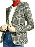 Smythe Les Vestes Patch Pocket Duchess Leather Elbow Plaid Blazer Jacket US 6