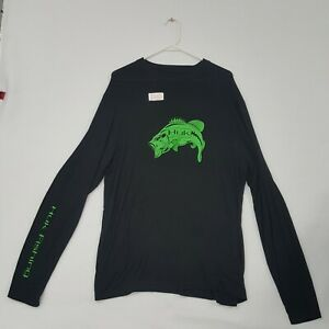 HUK Performance Green Bass Logo Black Long Sleeve Fishing Shirt L NWT Authentic