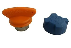 TVR CHIMAERA V8 Griffith  orange handle oil cap and blue water cap new pair