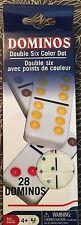 DOUBLE SIX Color Dot DOMINOES SET 28 Piece Game BONES portable TRAVEL mini SIZED