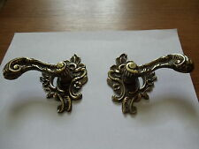 1 Pair Antique Solid Brass Dark Windsor Door Pulls Cabinet/Furniture Hardware