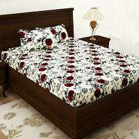 Floral 100% Cotton Double Bedsheet With 2 Pillow Covers, Red Rose Print Bedsheet