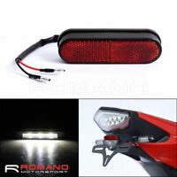 Motorcycle 3 LED License Number Plate Screw Bolt Light Lamp Mount Red Reflector