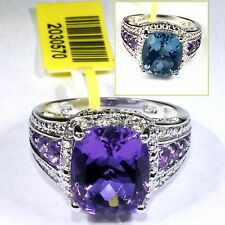Color-Change Lavender Alexite, Amethyst, Diamond Ring (Size 8) Silver 5.76 Cts