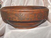 VINTAGE Bowl BROWN WOOD DISPLAY BRASS INLAY DESIGN