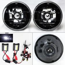 "5.75"" 5 3/4 Round 6K HID Xenon H4 Black Chrome Glass Headlight Conversion Pontia"