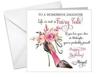 PERSONALISED female birthday card funny fairy tale 18th 21st 30th 40th 50th any!