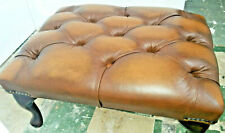 Chesterfield Deep Buttoned Queen Anne Footstool 100% Antique Tan Leather