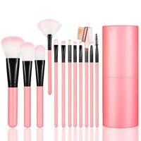 12PCS Makeup Brush Set Kit with Case Holder Foundation Powder Blush Eyeshadow