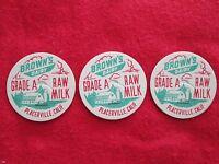 "3 Vintage ""Brown's Dairy Grade A Raw Milk"" bottle caps Placerville California"