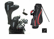 TALL MENS LEFT HAND MAGNUM GOLF CLUB SET wSTAND BAG+DRIVER+HYBRIDS+5-PW IRONS+SW
