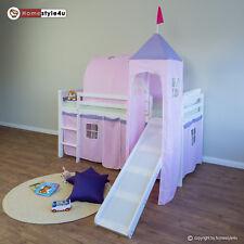 Hochbett Spielbett Kinderbett Rutsche Turm Vorhang pink 90x200 Jugendbett Tunnel