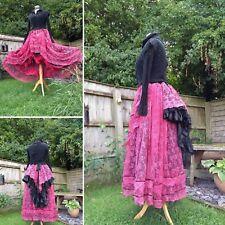 Quirky Unique Steampunk Gothique Larp Hitch Bustle vintage dentelle et coton jupe