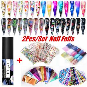 2Pcs/Set Christmas Flower Nail Foils Stickers Transfer Decals Nail Art Glue Kit
