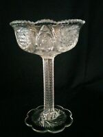 """American  Brilliant Period Cut Crystal Notched Stem Compote 8 1/2"""""""
