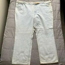 Vintage 90S Lee Rider Straight Leg Light Wash Denim Jeans Made In Usa Sz 54X30
