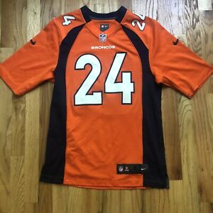 Men's Nike NFL On Field Denver Broncos Champ Bailey Orange Home Jersey Sz Small