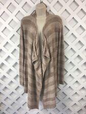 Barefoot Dreams Cardigan Sweater Womens Sz S/M Bamboo Chic Lite Tan Waterfall