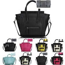 Ladies Designer PU Leather  Tote Satchel Smile Skull Scarf Bag Handbag Purse