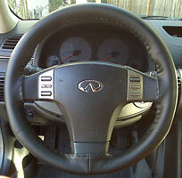 CHARCOAL GREY Custom Fit Leather Steering Wheel Cover - Wheelskins Size AXX