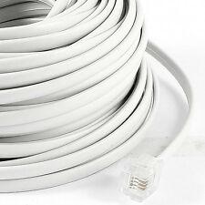 18M 60ft RJ11 6P4C Telephone Extension Cable Connector White