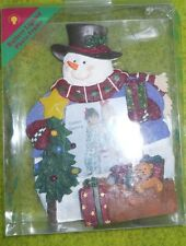 "LIGHTED SNOWMAN PICTURE FRAME ~ 3.5"" x 3.5"" PICTURE SIZE ~ FRAME  8.5"" TALL"