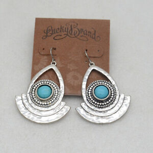 Lucky brand jewelry vintage silver tone turquoise drop dangle earrings for women