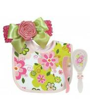 da997e03a4e Stephan Baby Swirly Flower Rose Bow Headband Bib Brush Comb Set